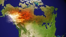 Canada Forest Fire Map - 3d Animation With Smoke And Aerial Growth Of Damage - Made Of Public Domain Image From NASA
