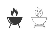 Grill Line Icon Set Vector Illustration In Flat Style