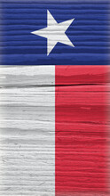 Texas State Flag On Dry Wooden Surface. Mobile Phone Wallpaper Made Of Old Wood. Lone Star State. Edge Of The Flag Has Faded Like Light Vignetting. Vertical Bright Backgroun