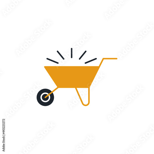 Canvas Print Emty Barrow construction, wheelbarrow icon in color icon, isolated on white back