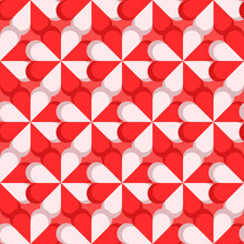 Red And White Petals In Cartoonish Style. Vector Seamless Red Wallpaper. Repeated Candys Ornament.