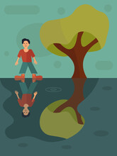 Mood Illustration. The Illustration Shows 2 Types Of A Person's State Of Mind: Joy And Sadness. The Boy Stands Joyful, But His Smile Disappears In The Reflection Of The Puddle. Vector