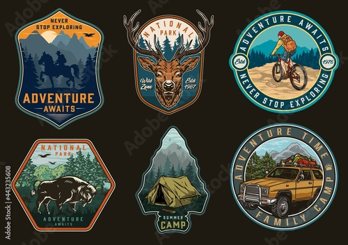 Canvas Adventure time and camping vintage labels