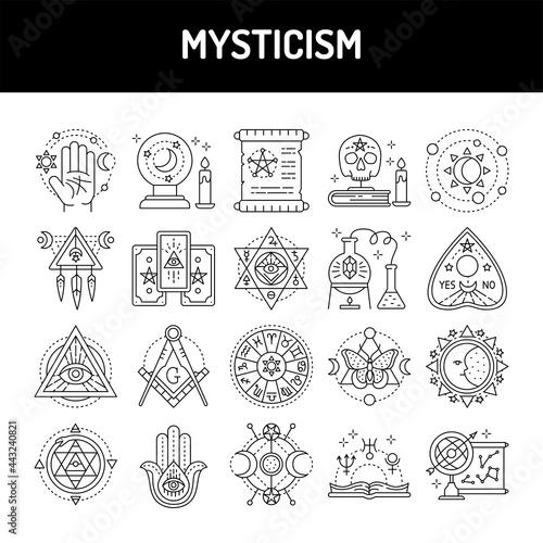 Fotografie, Obraz Mysticism line icons set. Isolated vector element.