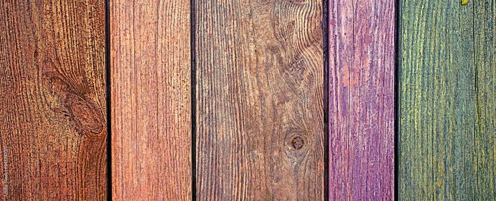 Obraz Kolorowe deski w płocie fototapeta, plakat