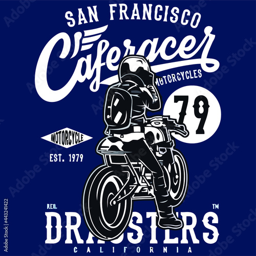 Foto cafe racer   and print design vector illustration for use in design and print po