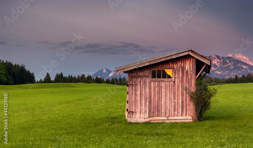 Fotografie, Obraz Wooden shed in the Alps Bavaria Germany