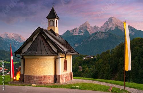 Fototapeta Kirchleitn chapel in the Alps Bavaria Germany