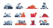 Cartoon Rover. Alien Planet Exploration Transport With Manipulators For Soil Samples. Red Rocks And Minerals. Space Discovery Robot With Antenna And Drill. Vector Research Machines Set
