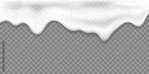 Fototapeta Bath foam or Beer foam realistic 3D vector illustration, isolated on transparent background