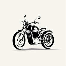 Retro Motorcycle Symbol, Stylized Vector Silhouette