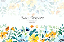 Yellow Green Floral Background With Watercolor
