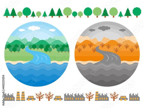 Fotografia 山から川が海に流れるまでの自然環境のイラストセット きれいな環境と汚れた環境を比較している