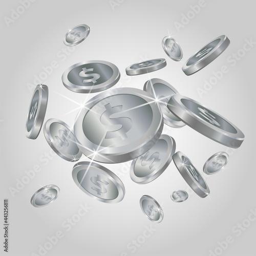Fototapeta Shiny realistic silver coins explosion