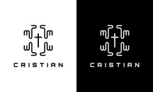 Christian Cross With Hand Icon. Logo Template For Church Organization Religious Concept