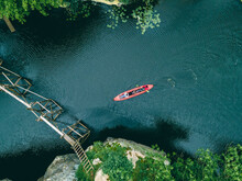 Overhead Top View Of Kayak In Canyon