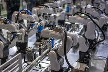 Robot Arm Working In Factory