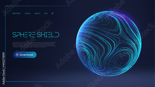 Photo Sphere shield protect in abstract style