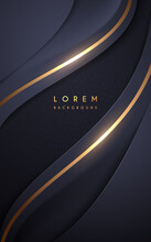 Abstract Dark Blue Wave Background With Golden Lines