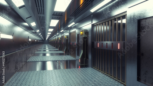 Fotografia 3d render futuristic interior jail
