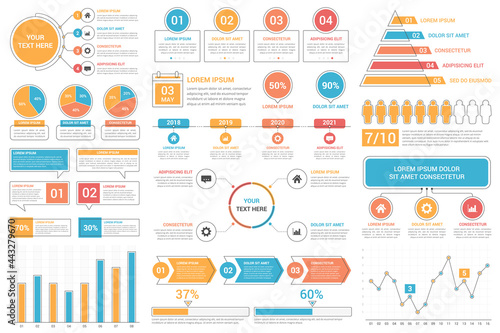 Infographic elements - bar and line charts, percents, pie charts, steps, options, timeline, people infographics