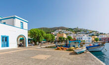 Agia Marina Port View In Leros Island. Leros Island Is A Small Island In Aegean Sea.