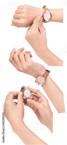 Canvas-taulu Collection hand with Wristwatch with diamond and brown leather strap luxury isolated on white background