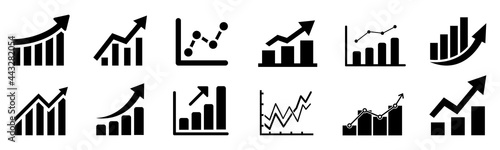 Fotografie, Tablou Set graph diagram up icon, business growth success chart with arrow, business ba