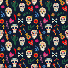 Dia De Los Muertos Pattern. Day Of The Dead Mexican Floral Sugar Human Head Bones Vector Background Illustration. Dead Day Holiday Seamless Pattern