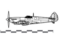 Supermarine Spitfire Mk IX. Vector Drawing Of WW2 British Fighter Aircraft. Side View. Image For Illustration And Infographics.