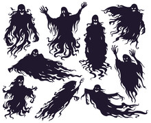 Halloween Evil Spirit Silhouette. Scary Nightmare Ghost Characters, Spooky Phantom Demons Mascots Vector Illustration Set. Cartoon Ghost Silhouettes