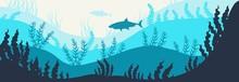 Deep Blue Ocean Underwater World Life Shark Hand-drawn Digital Illustration