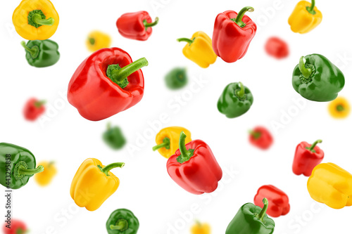 Fotografia Falling sweet pepper, paprika, isolated on white background, selective focus
