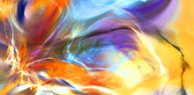 Abstract Ardent Background. Bright Modern Pattern With Lighting Effect. Fractal Artwork For Creative Graphic Design