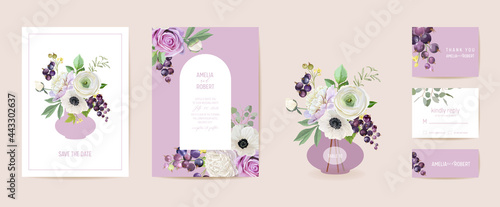 Fotografering Wedding invitation black currant berries, anemone, peony, rose flowers, leaves card