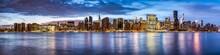 Manhattan Skyline Panorama At Night, New York City, USA