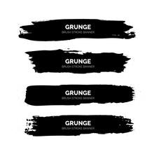 Black Grunge Brush Stroke Banners Template Vector Design Illustration