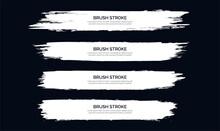 White Brush Stroke Banner Template Collection Vector Design Illustration