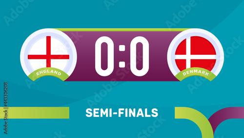 Tableau sur Toile england vs denmark match vector illustration Football euro 2020 championship