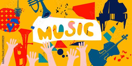 Obraz na plátně Music promotional banner with musical instruments colorful vector illustration