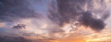 Natural Background Of The Colorful Panorama Sky, During The Time Sunrise And Sunset
