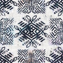 Seamless Grungy Tribal Ethnic Rug Motif Pattern. High Quality Illustration. Distressed Old Looking Native Style Design In High Contrast Navy And White Colors. Old Artisan Textile Seamless Pattern.