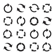 Set Of Circular Black Arrows. Black Arrows Pictogram. Refresh Black Arrows