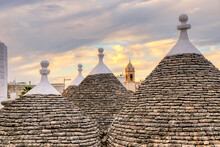 The Famous Trulli At Sunset In The Old Town Of Alberobello, Puglia, Italy - UNESCO Heritage