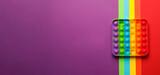 Fototapeta Kawa jest smaczna - Rainbow pop it fidget toy on color background, top view. Space for text