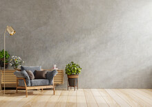 Dark Armchair And A Wooden Cabinet In Living Room Interior With Plant,concrete Wall.