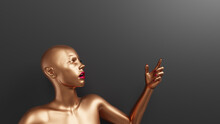 Shocked Female Mannequin Showing Up By Forefinger. Golden Woman Sculpture With Red Lips And Nails. Concept For Promotional Banner With Copy Space. 3D Rendered Image.