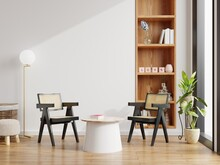 Modern Interior Of Living Room Have Chair With Table On White Wall And Wood Floor.