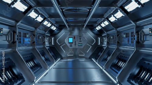 Canvas-taulu Science background fiction interior rendering sci-fi spaceship corridors blue light