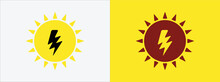 Solar Electric Power Vector Icon Logo Graphic Design. Electrical Spark And Sun Symbol Combination For Renewable Energy Source